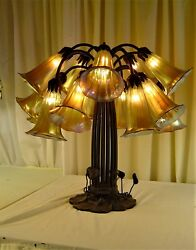 Authentic Lamp by Northeastern Lamp and Bronze Co. Circa 1980 15 lilly shades