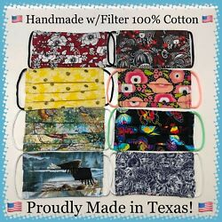 Choose YOUR Design Handmade Adult Fabric Face Mask Re-usable Washable TEXAS MADE $3.25