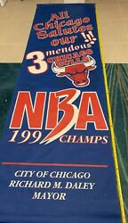 Phil Jackson Scottie Pippin Horace Grant And More Signed 3 Peat Street Banner