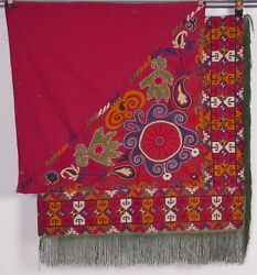 Vintage Red Banjara Cotton Fabric Cloth Textile India Embroidery Wall Hanging