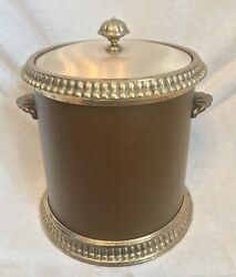 Vintage 1970s Georges Briard Brown Leather And Brass Covered Ice Bucket Heavy