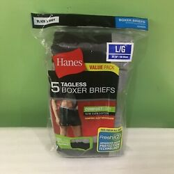 BRAND NEW 5 PK HANES TAGLESS BOXER BRIEFS UNDERWEAR MEN#x27;S LARGE BLACK amp; GREY