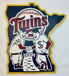 Minnesota Twins Mlb 3d Wood Logo Wall Sign Brand New 11andprime X 13andprime Hand Painted