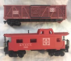 Vintage Ho Scale  Santa Fe A.t. And S.f. Freight Car And Caboose 2 Train Cars