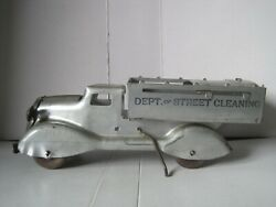 Vintage 30and039s 40and039s Marx Dept. Of Street Cleaning Dump Truck Pressed Steel Silver