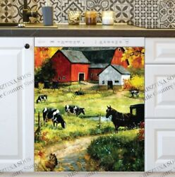 Kitchen Dishwasher Magnet - Old Farmhouse And Barn And Animals