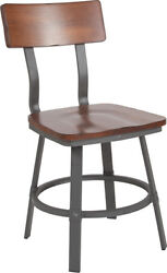 10 Pack Industrial Style Rustic Walnut Restaurant Chair With Wood Seat And Back