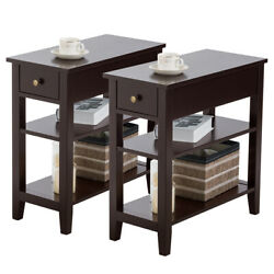 2 PCs 3Tier Nightstand Bedside Sofa Side End Table wDouble Shelves Drawer Brown