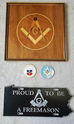 Authentic Freemason Masonic Wooden Wall Plaque License Plate And Medallions.