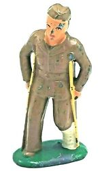 Barclay Lead Toy Sailor B119 - No. 775 Wounded W Crutches- Made In Usa Vgc