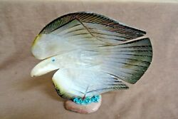 Native Zuni Museum Quality Xl Mother Of Pearl Shell Eagle By Mike Laweka C3138
