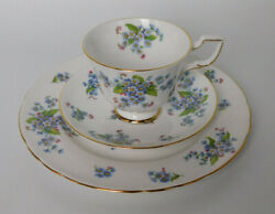 Tuscan Fine English Bone China Forget Me Nots Tea Cup And Saucer Trio