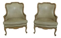 31905ec Pair Hancock Tan Or Beige Leather French Style Arm Chairs