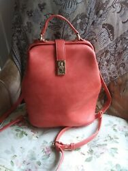 Coral And Gold Satchel Backpack Purse $25.00