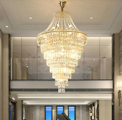 Top Led Dimmable Stair Chandeliers Light Crystal Ceiling Pendant Lamp Light Big