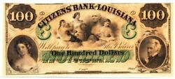 1860's 100 Louisiana, New Orleans Remainder- Gem Circulated- Amazing Note