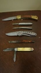 Lot Of 6 Pocket Knives Used Winchester Maple Colonial Providence Various Sizes
