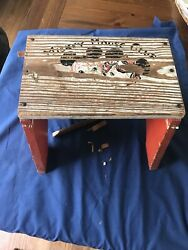 Vintage Mickey Mouse Club Mouseketeers Wooden Childs Step Stool Needs Repair