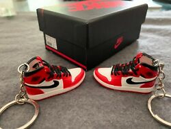 Mini Air Jordan 3D Handcrafted Sneaker Keychain Silver Keyring with box gift set