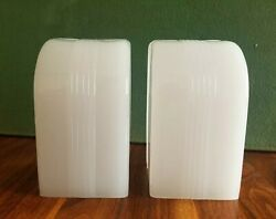 Rare Pair Antique Art Deco Milk Glass Slip Shades For Chandelier Wall Sconce