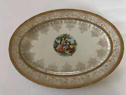 Vogue China Gold Filigree Colonial Courting Couple People - Oval Serving Platter