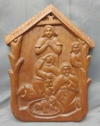 Old Vintage Hand Carved Wooden Christian Religious Nativity Plaque Wood Carving