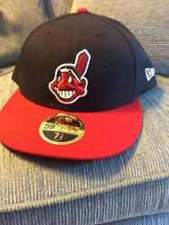New Era 59fifty Mlb Cap Cleveland Indians Chief Wahoo On Field Fitted Hat 7 1/2