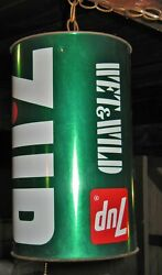 Large Rare Collector Vintage 70s Hanging 7-up Soda Chain Hanging Metal Can Light