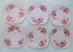 Set Of 6 Clarence Pink Bone China Square Floral Dessert Plates W Roses And Pansies