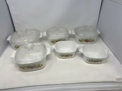 Vintage Corning Ware Spice Of Life 10 Piece Set With Lids