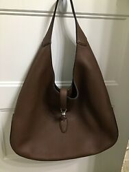 NWT Gucci Brown Jackie Soft Pebbled Leather Hobo Hand Bag $1,299.00