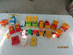 Huge Lot Vintage Fisher Price Vehicles Trucks Cars Fire Mail Construction