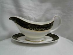 Royal Doulton Albany H5041, Black Rim Gravy Boat And Separate Underplate