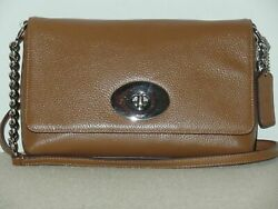 Pre owned COACH CROSSTOWN CROSSBODY IN Polished Leather Silver Saddle $47.99