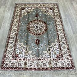 Yilong 4'x6' Blue Hand Knotted Silk Carpets Medallion Vintage Parlor Rug 17b