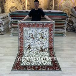 Yilong 4'x6' Hunting Scene Hand Knotted Silk Carpets Antique Tribal Rug 757b
