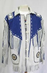 Men/ Women-white And Blue Suede Leather Wear Cowboy Native American Jacket, Coat