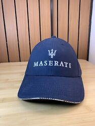 Official Maserati Navy Blue Logo Cap Hat Adjustable Embroidered New