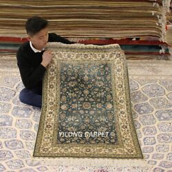 Yilong 2.5'x4' Blue Classic Handwoven Rug Oriental Hand Knotted Silk Carpet 274h