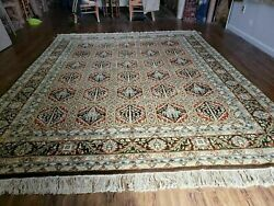 8and039 X 10and039 Hand Knotted Wool Area Rug Vegetable Dyes Handmade Paneled Palm Tree