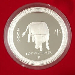 2008 / 2009 Lunar Year Of The Ox 1oz Silver Proof Coin - Perth Mint Series 1