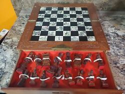 Large Carved Wooden Chinese Chess Set Vintage/antique