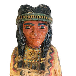 Vintage Cigar Store Corn Indian Maiden Carved Wooden Figure By Ralph Gallagher