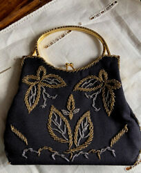 Vintage Laura USA Black Beaded EVENING BAG purse big enough for Iphone