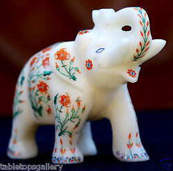 Antique Marble Elephant Marvelous Semi Mosaic Coral Gems Inlay Decor Gifts H1964