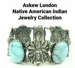Askew London Native American Linked Bracelet - Howlite Cabochon And Silver Finish