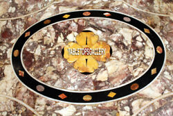 Marble Dining Table Top Furniture Garden Inlaid Decorative Marquetry Decor H4006