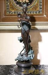 West Art Deco Sculpture Bronze Hunting God Nude Goddess Bow And Arrow Statue