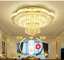 Remote Dimmable Led Crystal Living Room Light 2020 New Luxury Ceiling Lamp Light