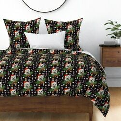 Westy Santa Christmas Dog Pet Holiday Highland Sateen Duvet Cover by Roostery
